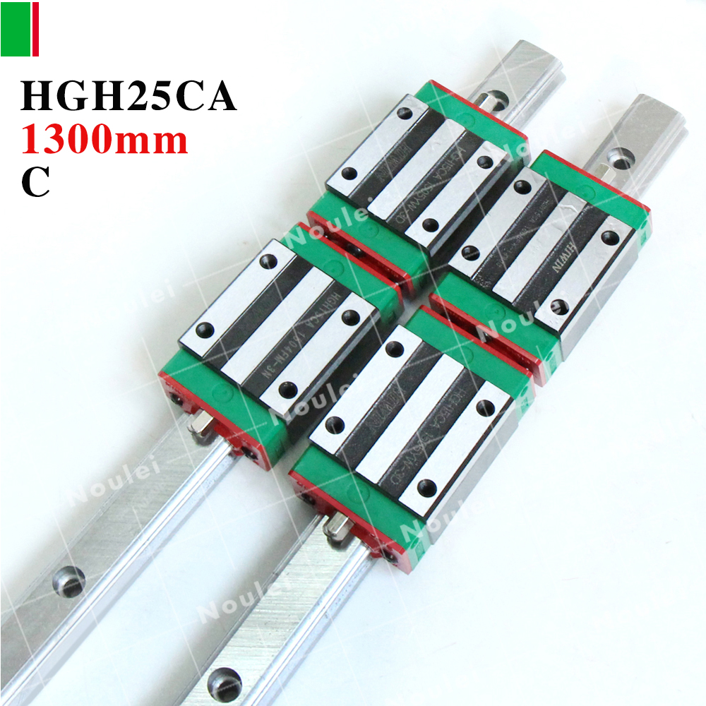 HIWIN Linear guide 1300mm,2pcs HGR25 linear guide rail+4pcs HGH25CA CNC Linear Guide Rail Block 2pcs hiwin hgh25ca linear guide slider block linear rails carrier