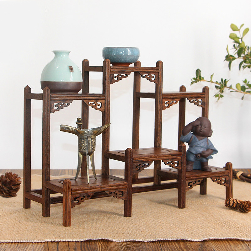 Rich Ancient Frame Wood Treasure Cabinet Display Shelves Of Chinese Style Furnishing Articles Recommended Wenge Teapot Shelf wall shelf for tea pots