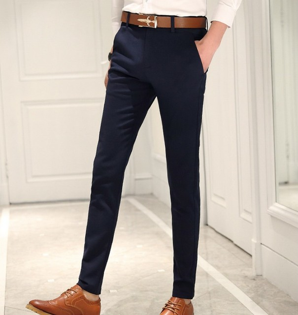 Topman light blue, skinny cotton khaki dress pants. They kind of have a look of denim, but are lighter weight and the pockets and cut are styled like a dress pant/khakis.