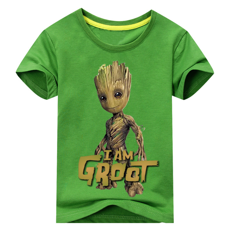Baby I Am Groot T Shirt For Kids Summer Short Sleeve Tee Tops Clothes Children 3D Funny T-shirts Costume Boy Girls Top DX038 children summer hot shooting game print t shirt clothing for boy t shirts girls short tee tops clothes kids tshirt costume dx063