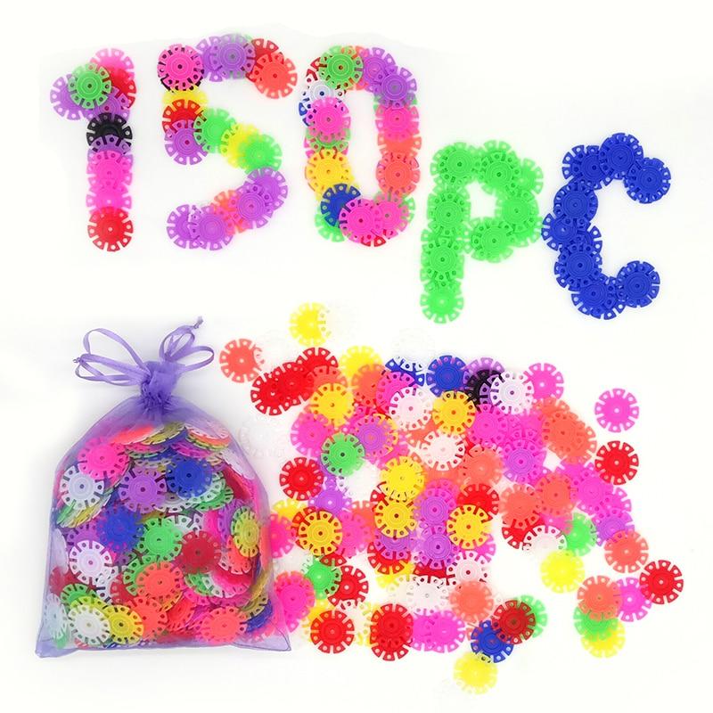 With Instructions 150Pcs 3D Puzzle Plastic Snowflake Building font b Blocks b font Educational font b