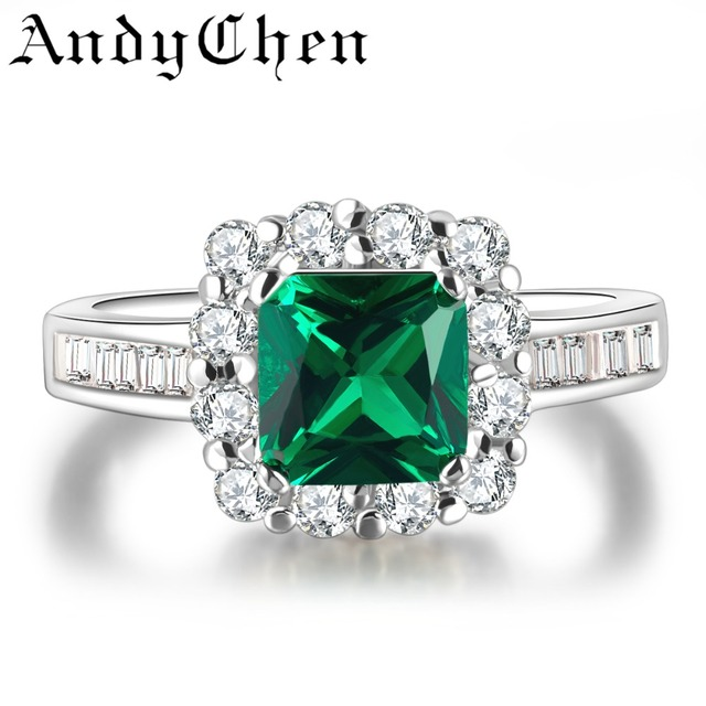 MDEAN Square Green Crystal Jewelry Rings For Women Silver Color Bague Female Bijoux ASR188