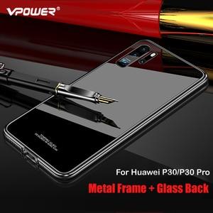 Image 3 - สำหรับ Huawei P30 กรณี P30 Pro กรอบโลหะ + กระจกนิรภัยกรณีที่มีสีสันลื่น P 30 Pro mate 20 pro เปลือกโลหะ