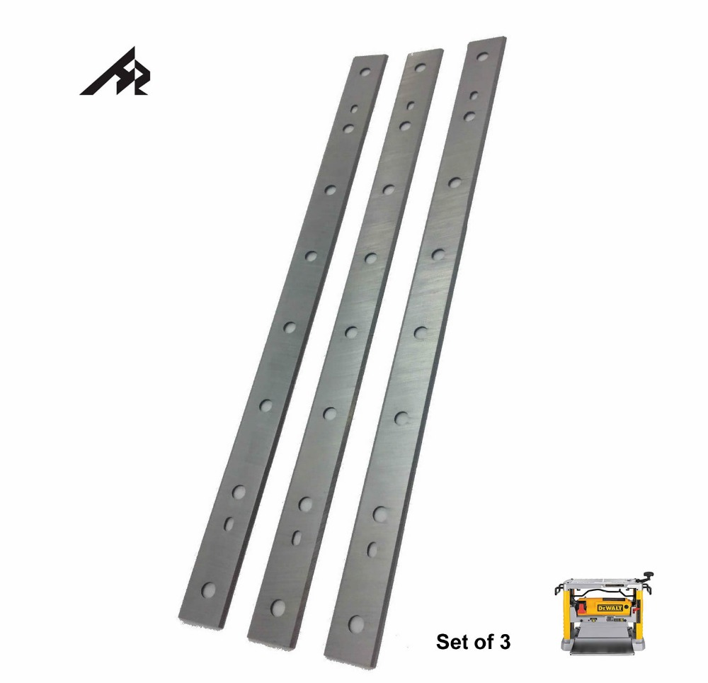 HZ 13 HSS Planer Blades Knives for Dewalt DW735 Replaces DW735X Thicknesser Planer - Double Edged - Set of 3