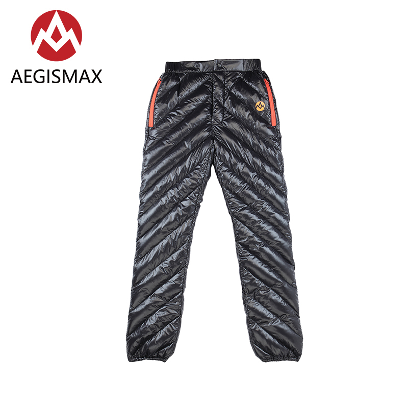 AEGISMAX Adult Unisex Outdoor Sport Down Pants Ultralight White Goose Down Keep Warm Waterproof Camping Winter Trousers