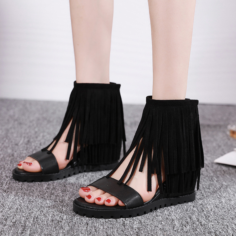 Women Sandals Sexy Tassel Summer Shoes Women Wedge Heels Open Toe High Heel Shoe Zip fringe Sandal Woman Shoes  Size 35-40(China)