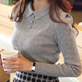 2017 Outono Inverno Moda Casual Malha Mulheres Camisolas e Pulôveres Sólidos Botões Escritório Trabalho Pullover Magro Sueter Mujer