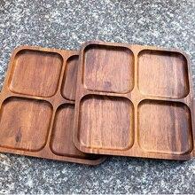 Таиланд Акация деревянная доска прямоугольный деревянный Бытовая Посуда поддон плоская фруктовая сетчатая тарелка ручной работы обеденный поднос