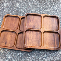 Thailand Acacia Wooden Plate Rectangular Wood Household Tableware Tray Pallet Flat Fruit Lattice Plate Handmade Dinner Tray
