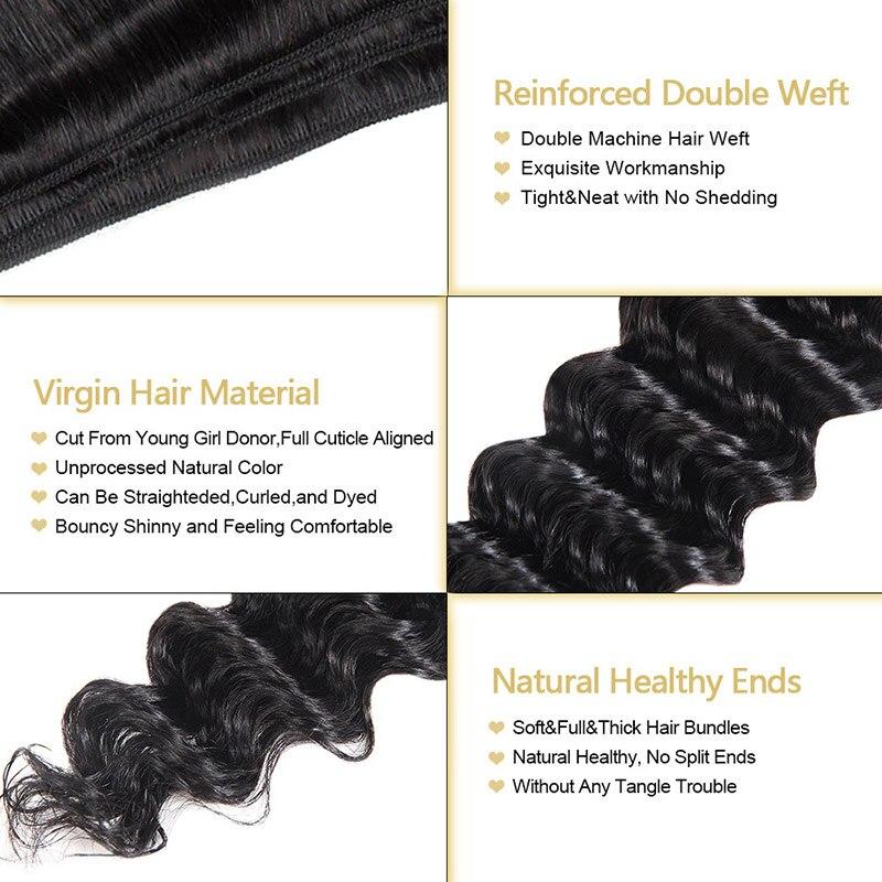 Brazilian Deep Wave Virgin Hair Bundles Natural Color Brazilian Virgin Hair Deep Wave Human Hair Extensions Funmi Hair Weaving