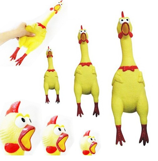 Hot Sales Cheap 3 Sizes Yellow Rubber Screaming Chicken Pet Dog Decrease Stress Prank Toys Squeak Squeaker Chew Gifts Supplies