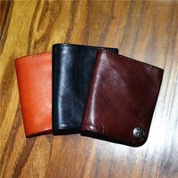 AETOO Leather vegetable tanned purse wall wash old retro caramel men and women wallet
