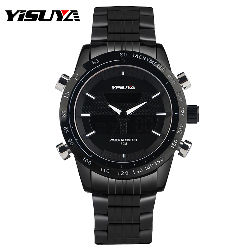YISUYA Brand Mens Black Military Quartz Watch with Full Stainless Steel Watchband Luxury Outdoor Sport Wristwatch for Men Gift