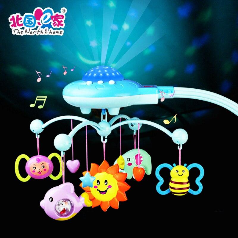 Bébé berceau jouets cloche étoile suspendus sommeil infantile literie bébé jouer activité 50 musique lumière Flash jouet ensemble suspendus hochet cadeau