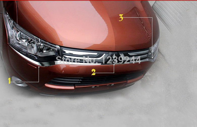 Chrome front bumper grille grill trim Molding for Mitsubishi Outlander 2013 2014