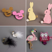 1pc Glitter Rabbit Hair Clip Cartoon Mouse Girl Hairpin Sparkly Flamingo Bird Barrette White Black Swan Kid Gift Owl Hair Grip(China)