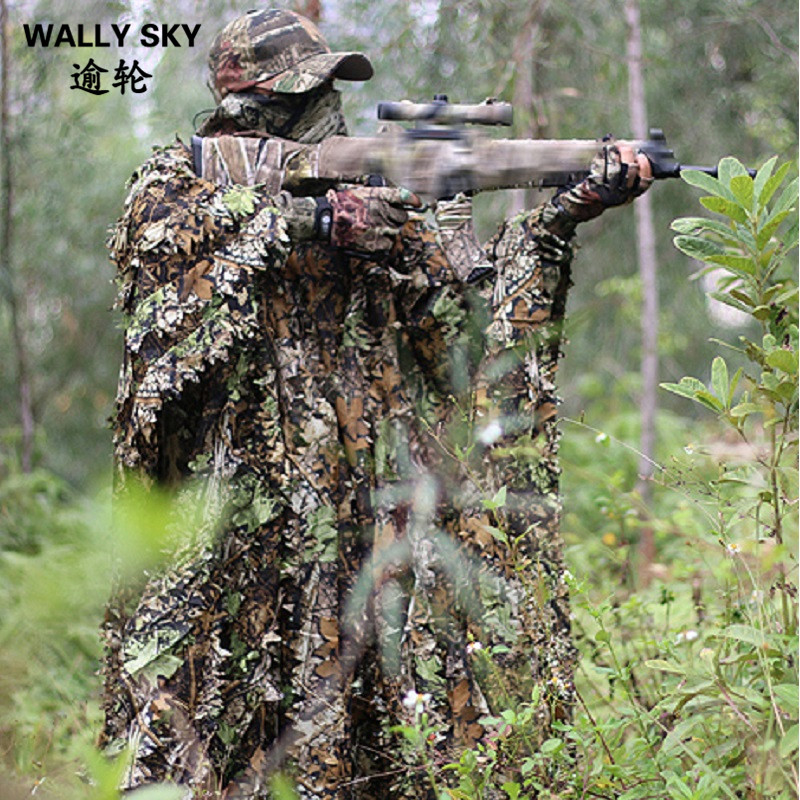 Camo 3D Leaf Hunting Poncho Camouflage Clothing Camping Birdwatching Breathable Ghillie Suit for Hunter 5 pieces new ghillie suit camo woodland camouflage forest hunting 3d