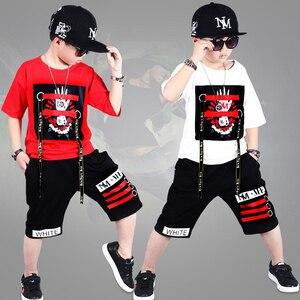 Image 5 - ילדי אימוניות 4 12Y בני בגדי Enfant tshirt + הרמון מכנסיים אופנה ילד בגדי ילדים מגניבים היפ הופ בגדי ספורט חליפה