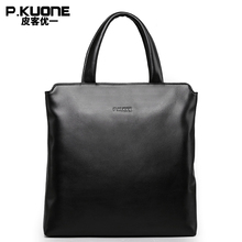 P.KUONE Brand 100% Genuine Leather Handbag Men Multifunctional Notebook Bag Male Business Briefcase Cow Leather Hand Bag For Men