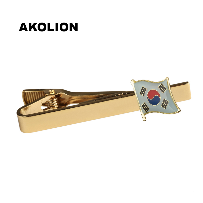 Classic Metal Tie Clip South Korea Nation Flag Tie Bar Gold Tie Pin For Formal Dress Shirt Ceremony Tie Clamp KS-0074