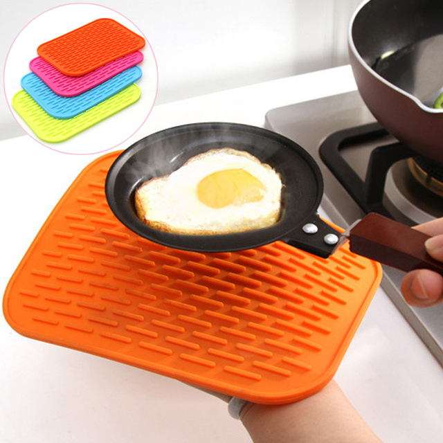Delightful High Quality Square Silicone Insulation Against Hot Pad Kitchen Pot Holder  Plate Mat Bowls Mat