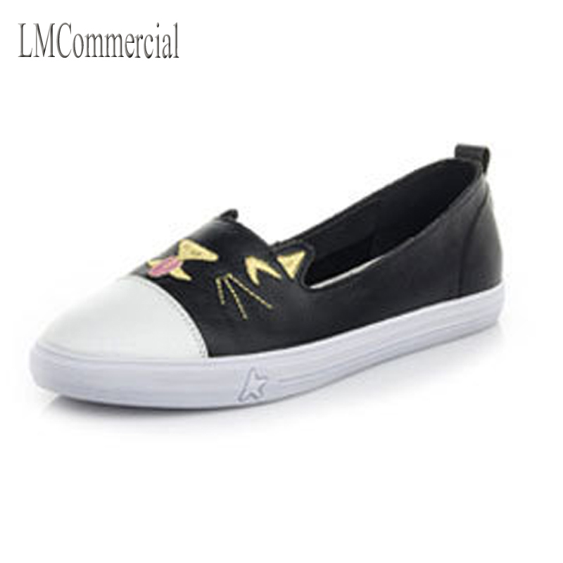 The fall of 2017 new singles the first layer of leather lace up shoes white shoes casual shoes a size Maotou one generation
