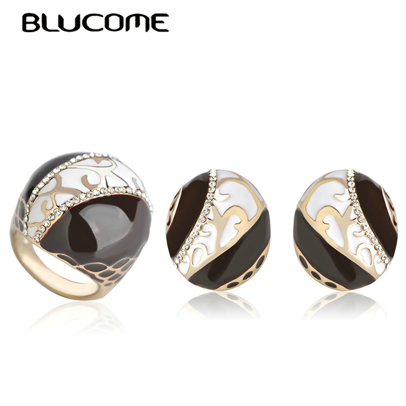 Blucome Dubai Brown White Enamel Jewelry Set Big French Hooks Stud Earrings Ring Sets For Women Wedding Anniversary Gifts Bijoux