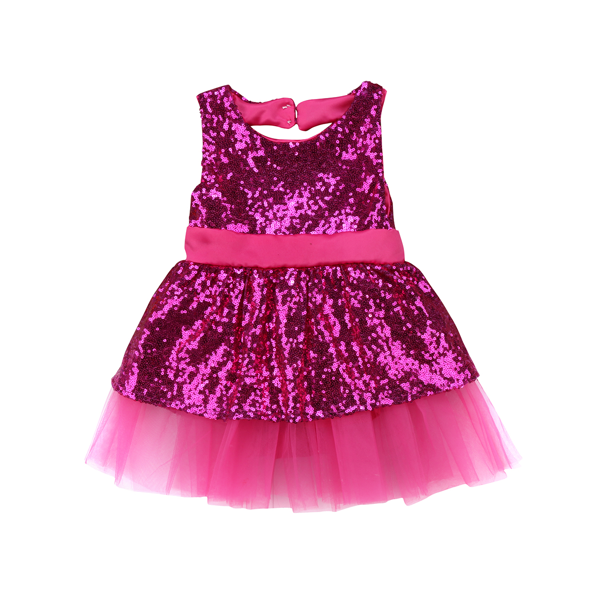 Pudcoco Sequins Kids Baby Girl Dress Princess Bow Backless Dress ...