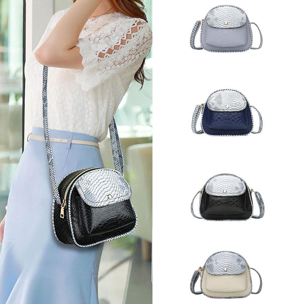2018 Fashion Mini Women Shoulder Messenger Bags Snake Skin Texture Strap Ladies Zipper Crossbody Shoulder Messenger Flap Bags