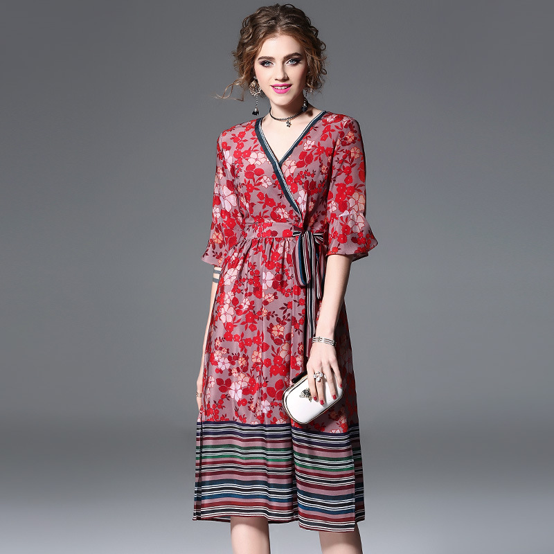 High quality 2018 NEW spring summer printed silk dress cross V-neck half sleeve defined waist a word women vestidos