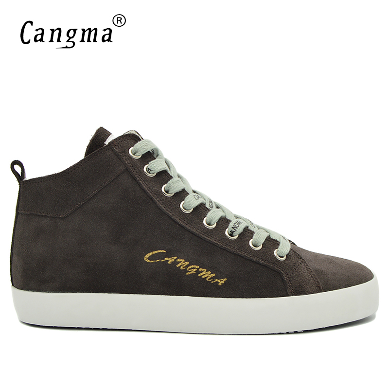 Cangma Famous Mans Casual Shoes Mid Autumn Brand Sneakers Men Genuine Leather Leisure Shoes Male Lace Up Gray Cow Suede Footwear cangma italy deluxe brand women men casual golden shoes zebra silver genuine leather low sstar smile goose shoes zapatos mujer