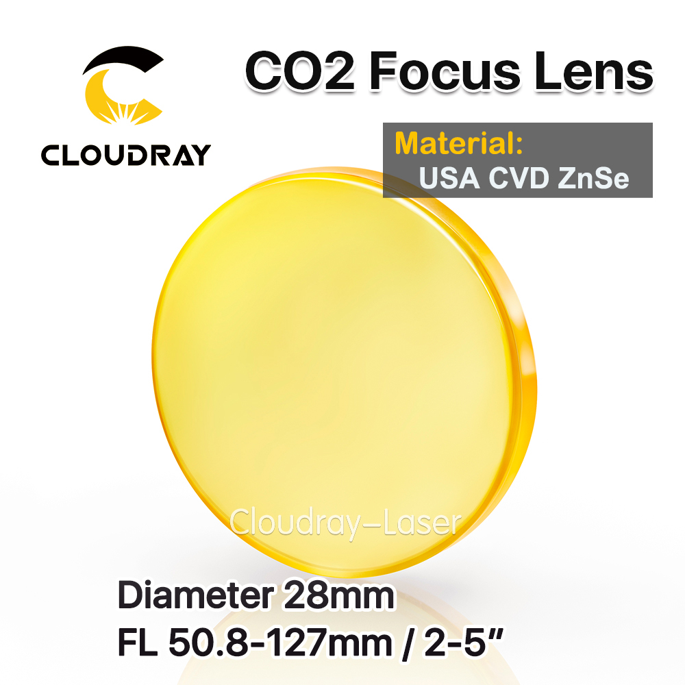 Cloudray USA CVD ZnSe Focus Lens Dia. 28mm FL 50.8/63.5/127mm 2/2.5/5 for CO2 Laser Engraving Cutting Machine Free Shipping top quality usa znse co2 laser lens 25mm dia 101 6 focus length for laser cutting machine free ship