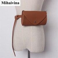 Mihaivina Women Waist Bag Casual Leather Waist Belt Pack Female Chain Shoulder Bags Travel Chest Bag Small Phone Zipper Purse