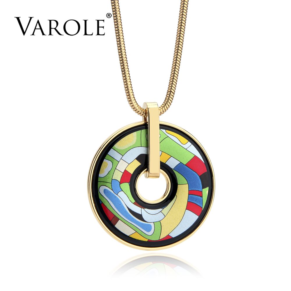 VAROLE Fashion Colar Feminino Multicolored Bohemia Style Necklaces & Pendants For Women Round Snake Chain Printed Pattern classic printed round decorated faux leather chain bracelet for women