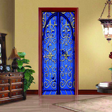DSU 3D Blue Retro Door Creative Door Sticker Home Bedroom Sliding Door Decorative Wallpaper PVC Waterproof Wall Stickers