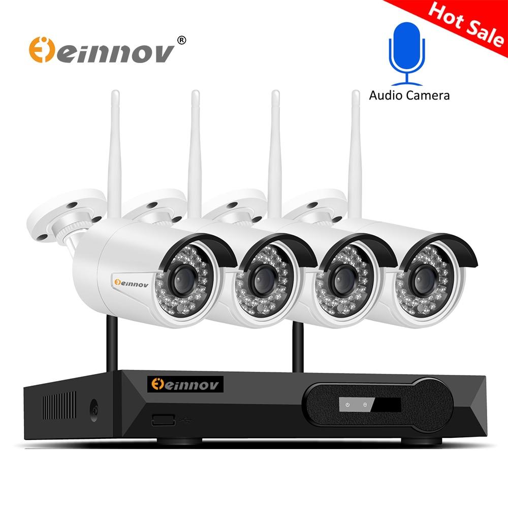 Einnov H.265 4CH CCTV Sistema di 5MP 2592*1944 Wifi IP Macchina Fotografica Impermeabile Onvif Motion Detect Aduio Record di Sorveglianza Della Macchina Fotografica kit