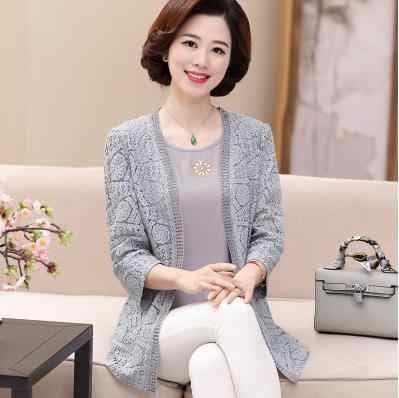 Clobee 2020 lato poncho feminino blusa tricot garnitur hollow matka odzież z dzianiny zestaw z długim rękawem sweter plus size płaszcze S437