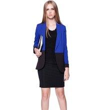 Nice Pop New font b Blazers b font Jacket Women Blue Long Patchwork font b Blazer