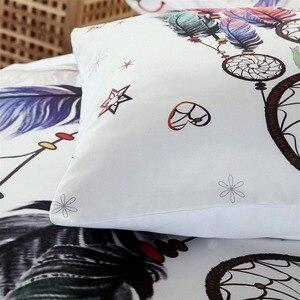 Image 4 - לבן לוכד חלומות מצעים סט שמיכה מלך בוהמי הדפסת מצעי מלך צבעוני נוצות שמיכה כיסוי