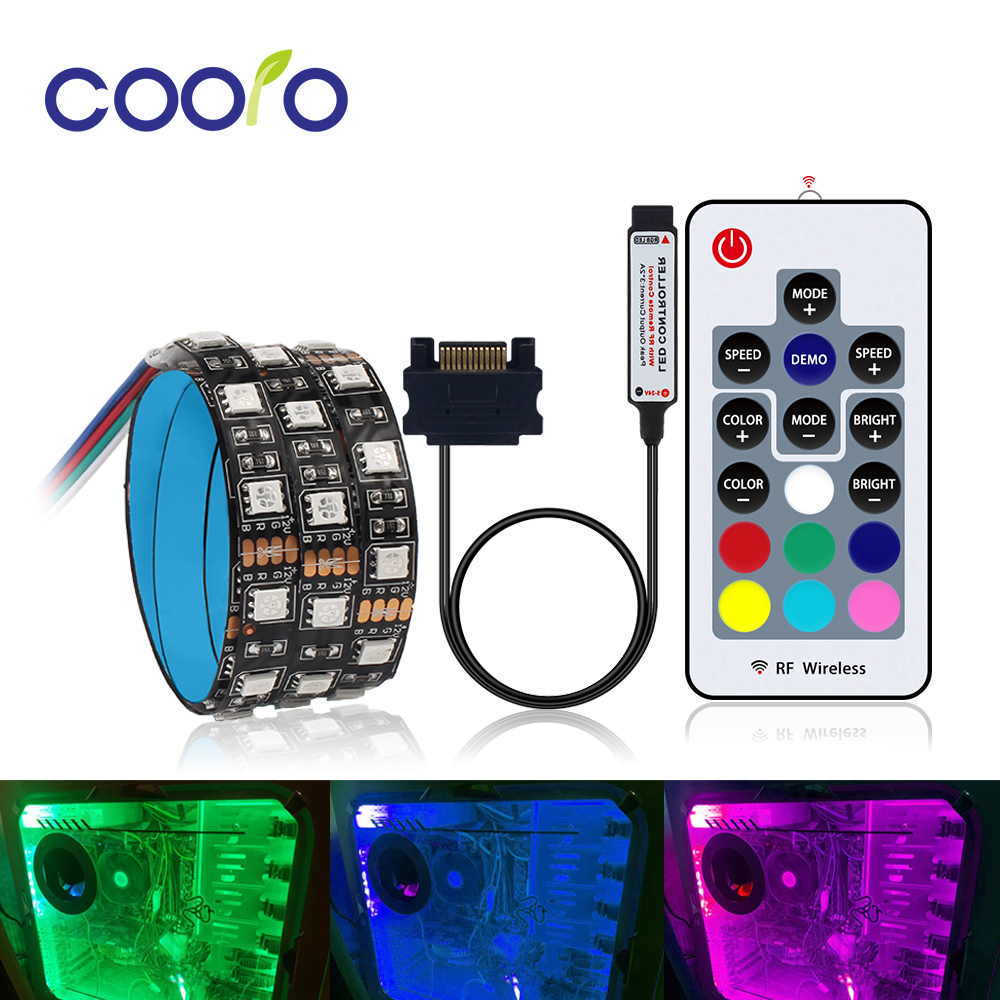 SATA Interface RGB LED Strip Light 60LEDs/m Diode Tape Full Kit with RF Wireless Controller for PC Computer Case 0.5m 1m 1.5m 2m-in LED Strips from Lights & Lighting