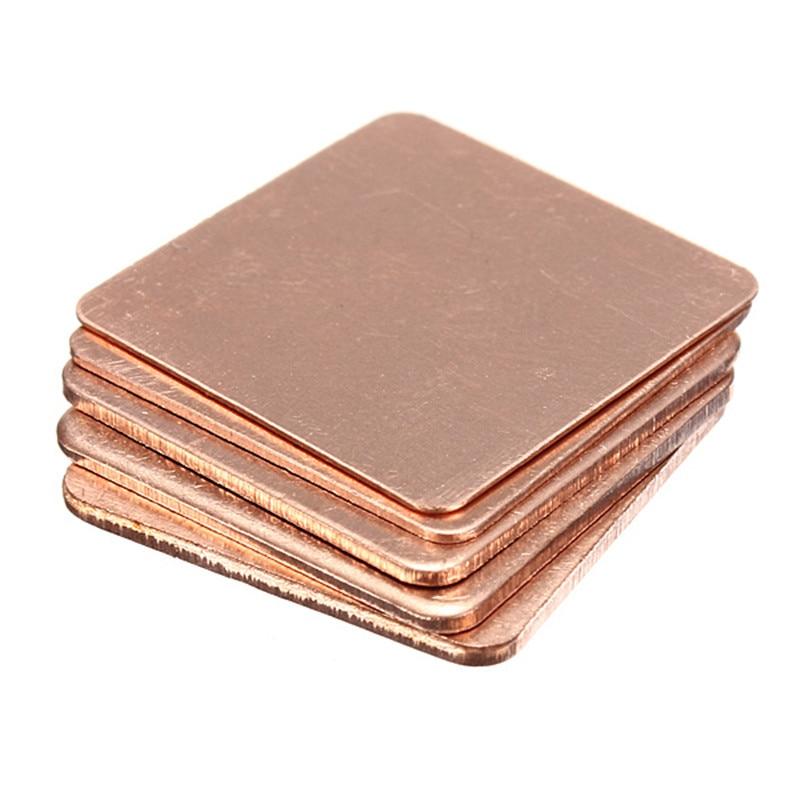 5 X Copper Heat Sink Laptop GPU CPU Heat Sink Copper Shim 20x20x0.3/0.5/0.8/1.0/1.2/1.5mm