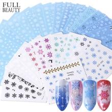 Full Beauty 30pcs Pure White Snowflake Nail Sticker Christmas Polish Decals Nail Art Decorations Water Winter Tools Sets CH862