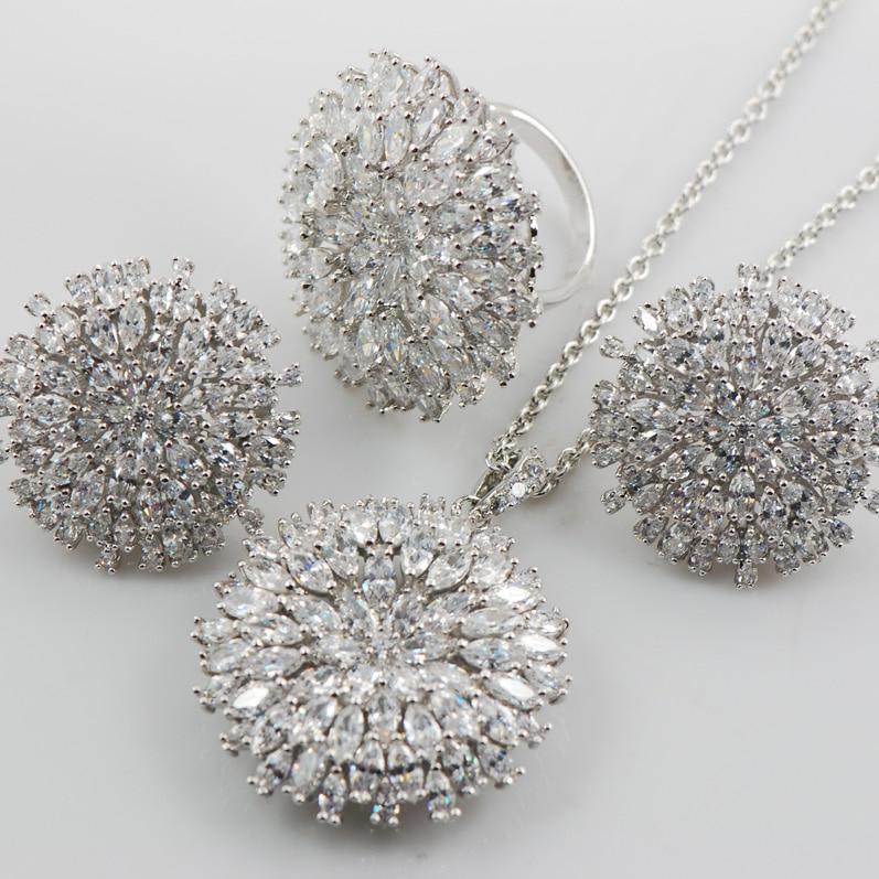 Shiny Ring&Pendant&Earrings Set Women 925 Sterling Silver Fashion Jewelry Set TT584
