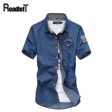 Classic Solid Double Pockets Men Shirt 2017 Brand Denim Shirt Mens Short Sleeve Casual Slim Fit Jeans Shirts Camisa Masculina