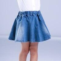 Çocuklar Kızlar için Denim Etekler Mini Şemsiye Etek Moda Çocuk Yüksek bel Tutu Etek Jean Balo Giyim + Kemer 4 6 8 10 T 12
