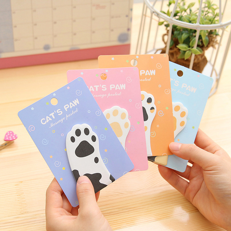 1 PCS Cartoon Cute Cat Paw Memo Pad Paper Post Notes Sticky Notes Notepad Stationery Papeleria Office School Supplies