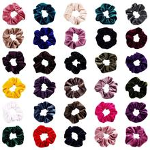 30 Pack Soft Ouchless Thick Shiny Scrunchies for Hair Bobbie Ties Cotton Velvet Scrunchy Elastic Band Ponytail Holder Bows