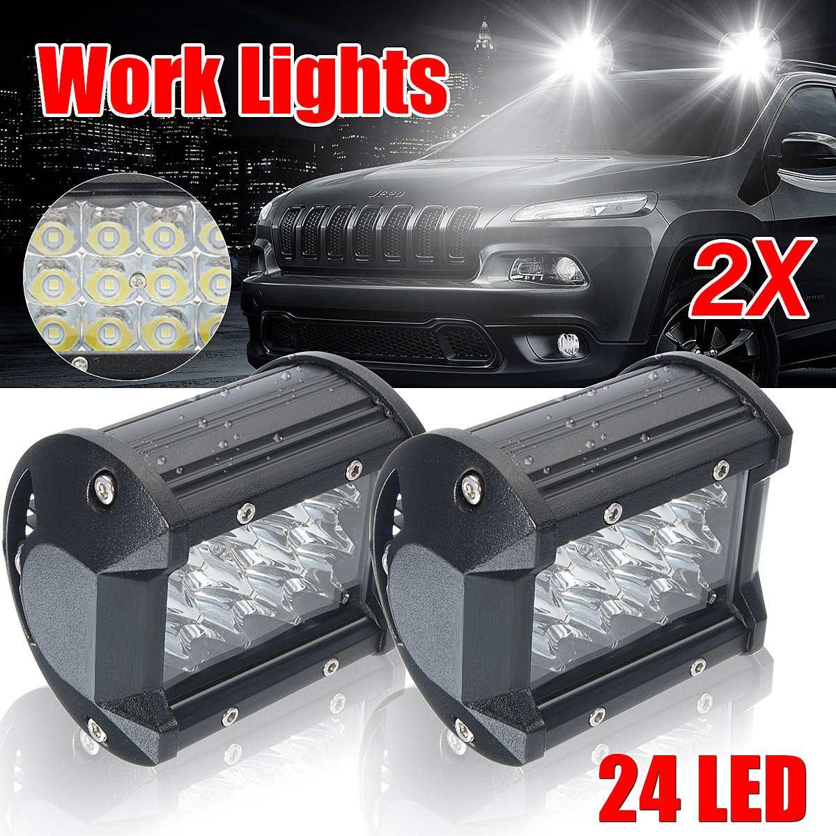 5 Inch 72W 12LED 6000K Car Light Spot Beam Waterproof Work Night Light Driving Fog Lamp Bar for Offroad ATV UTE SUV Super
