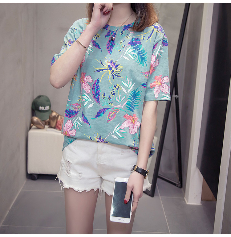 Nkandby Flower Print Summer T-shirt For Woman Fashion Casual Short sleeve Ladies Tshirt 2019 New Bamboo Plus size Basic Tops 4XL 17