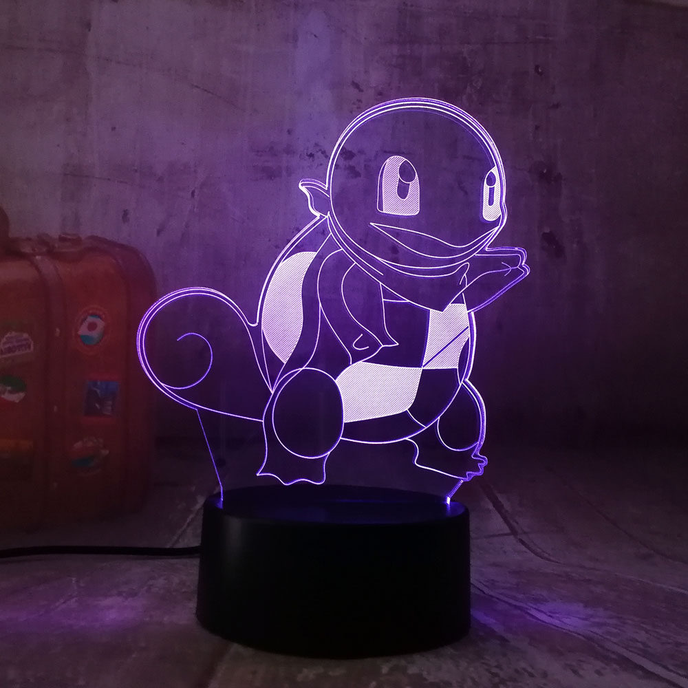 3D Game Pokemon Go Action Figure Led light Creative Atmosphere Lamp Jenny Tortoise 7 color change modern lamp Visual Home Decor
